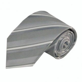 Gray, White Wide Stripe Men's Tie 9356-0