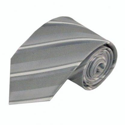 Gray, White Wide Stripe Men's Tie 9356-0