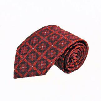 Red & Burgundy Floral Medallion Men's Tie 1576-0