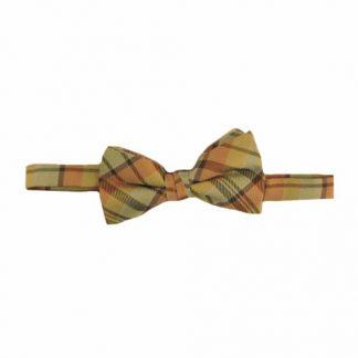 Yellow, Salmon Plaid Band Bow Tie 5504-0