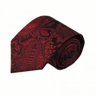 Red, Black Large Paisley Men's Tie 5613-0