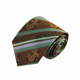 Brown, Turquoise Floral Stripe Men's Tie 5831-0