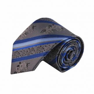 Gray, Blue Floral Stripe Men's Tie 6135-0