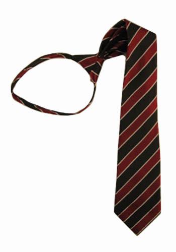 "17"" Boys Burgundy, Black Stripe Zipper Tie 6457-0"