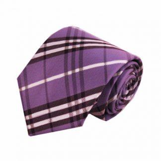 Light Purple, White, Black Plaid Men's Tie 7515-0
