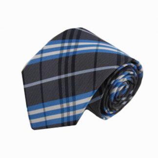 Charcoal, Blue Plaid Men's Tie 9776-0