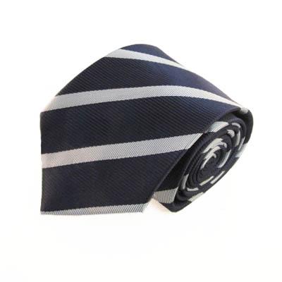 "63"" XL Navy Blue & Silver Striped Men's Tie 7141-0"