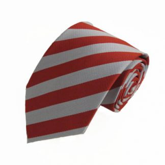 "XL 63"" Red & Silver Striped Men's Tie 7357-0"