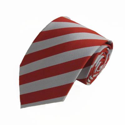 "XL 63"" Red & Silver Striped Men's Tie 7357-0"