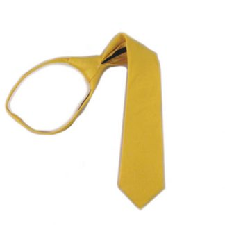 "11"" Bright Yellow Solid Zipper Boy's Tie 1064-0"