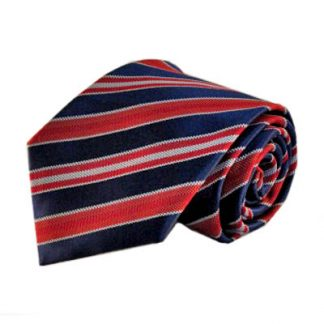 Navy & Red Stripe Men's Tie w/Pocket Square 10757-0
