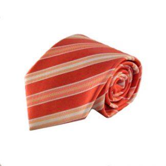 Coral & Peach Stripe Men's Tie w/Pocket Square 1120-0