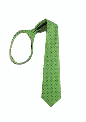 "17"" Green with Blue Dot Boy's Zipper Tie 11262-0"
