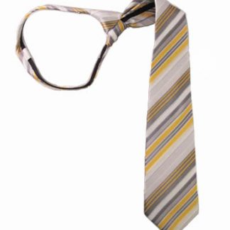 "17"" Boy's Yellow & Gray Striped Zipper Tie 4259-0"