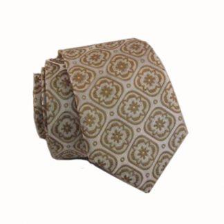 Cream, Taupe Medallions Skinny Men's Tie 5588-0