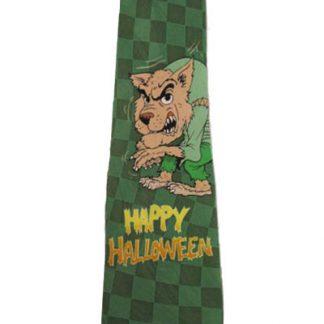 Green w/ Werewolf Men's Happy Halloween Tie 8890-0
