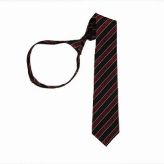 "21"" Men's Burgundy & Black Striped Zipper Tie 9912-0"