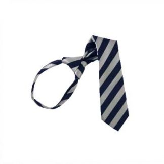 "11"" Boy's Navy & Silver Striped Zipper Tie 1366"