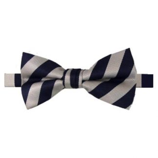 Navy & Silver Striped Banded Bow Tie 10368