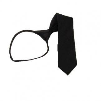"""11"""" Boy's Solid Black Zipper Tie 10520"""