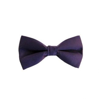 Solid Dark Purple Clip On Bow Tie 11113
