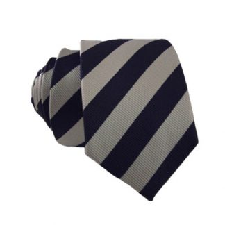 Navy & Silver Striped Skinny Tie 11363