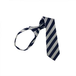 "17"" Boy's Navy & Silver Striped Zipper Tie 2854"