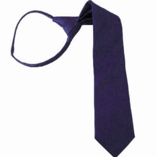 "11"" Boy's Solid Dark Purple Zipper Tie 3657"