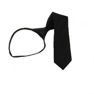 "17"" Boy's Solid Black Zipper Tie 5243"