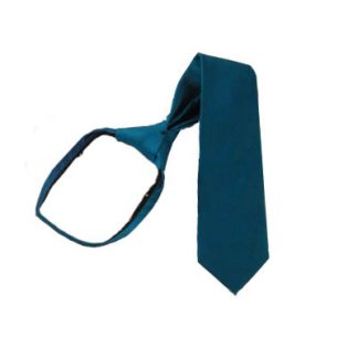 "11"" Boy's Solid Teal Zipper Tie 5821"