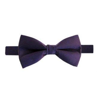 Solid Dark Purple Banded Bow Tie 7990