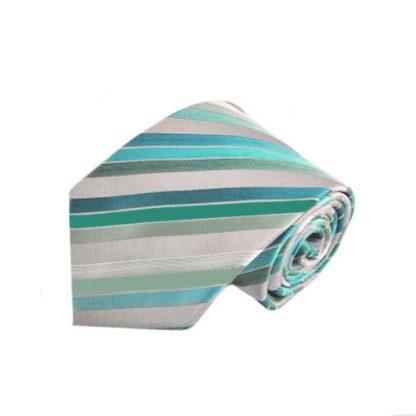Aqua, Emerald, Gray & Mint Striped Tie w/Pocket Square 965-0