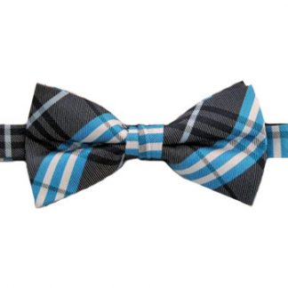 Charcoal & Blue Plaid Banded Bow Tie 9762-0