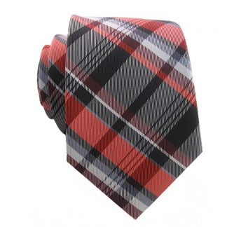 Red, Black & White Plaid Men's Skinny Tie w/ Pocket Square 1126