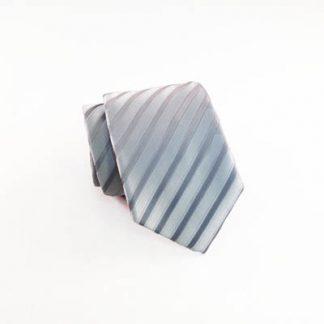 Silver Tone on Tone Stripe Skinny Men's Tie w/Pocket Square 8154-0