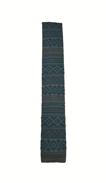 Gray & Teal Fairisle/Aztec Knit Tie 8037