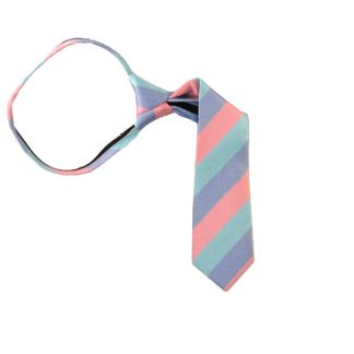 "11"" Aqua Lavender & Pink Striped Boy's Zipper Tie 10002"