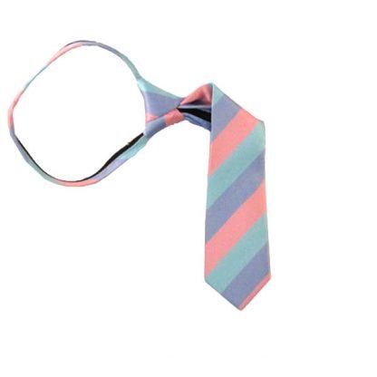 "11"" Aqua Lavender & Pink Striped Boy's Zipper Tie 10002"