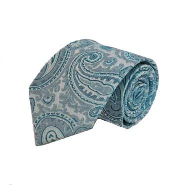 """63"""" XL Blue & Teal Paisley Men's Tie 2392-0"""