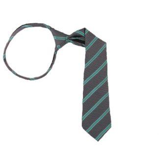 "14"" Turquoise & Gray Striped Boy's Zipper Tie 2726"