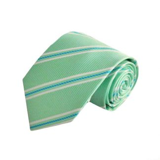 "63"" XL Mint & Blue Stripe Men's Tie 4029-0"