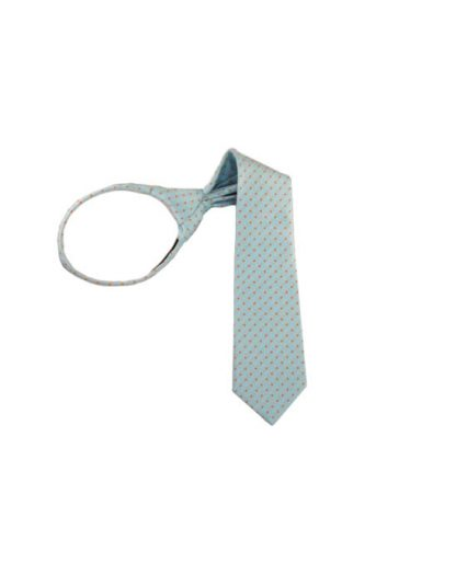 "14"" Turquoise w/ Orange Dots Boy's Zipper Tie 5368"
