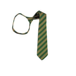 "17"" Green & Gold Striped Zipper Tie 6137"