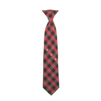 "14"" University of Utah Red & Black Checkered Boy's Tie 8933"