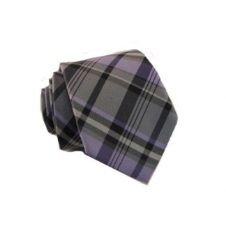 Lavender, Gray, White Plaid Skinny Men's Tie w/Pocket Square 1075-0