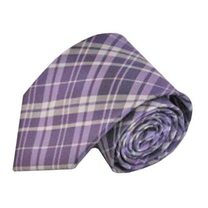 """63"""" XL Lavender & Gray Plaid Men's Tie 8702-0"""