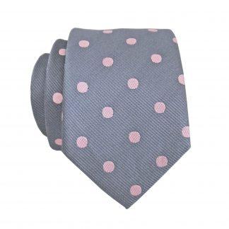 Charcoal, Pink Dots Skinny Men's Tie 6326-0