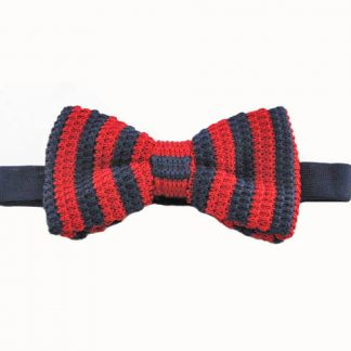 Red & Navy Stripe Knit Banded Bow Tie 11044-0