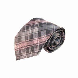 "63"" XL Pink & Gray Plaid Men's Tie 3510-0"