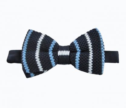 Navy & White Stripe Knit Banded Bow Tie 4924-0